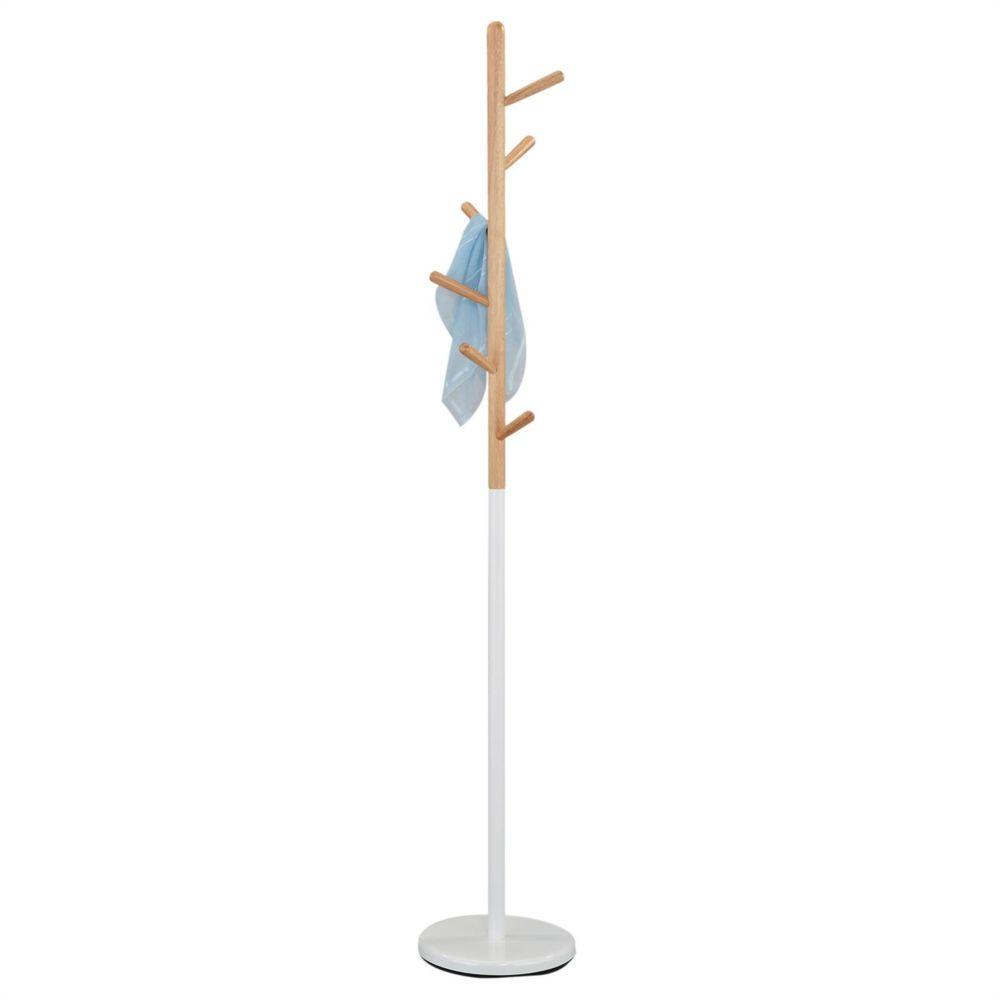 Idimex Porte-manteau ENRICO portant à vêtements sur pied en forme d'arbre avec 6 crochets, en métal laqué blanc et bois