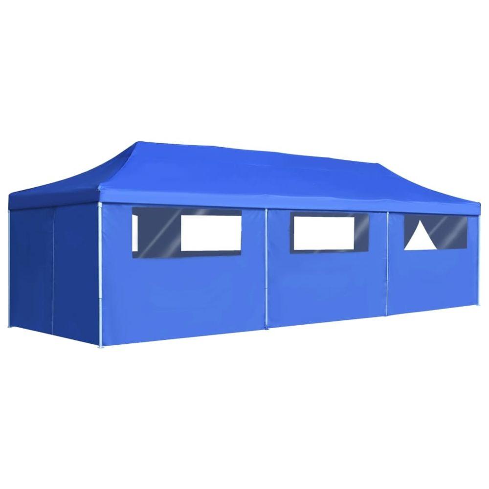 Vidaxl vidaXL Tente de Réception Pliable 8 Parois 3x9 m Bleu Pavillon Tonelle Jardin