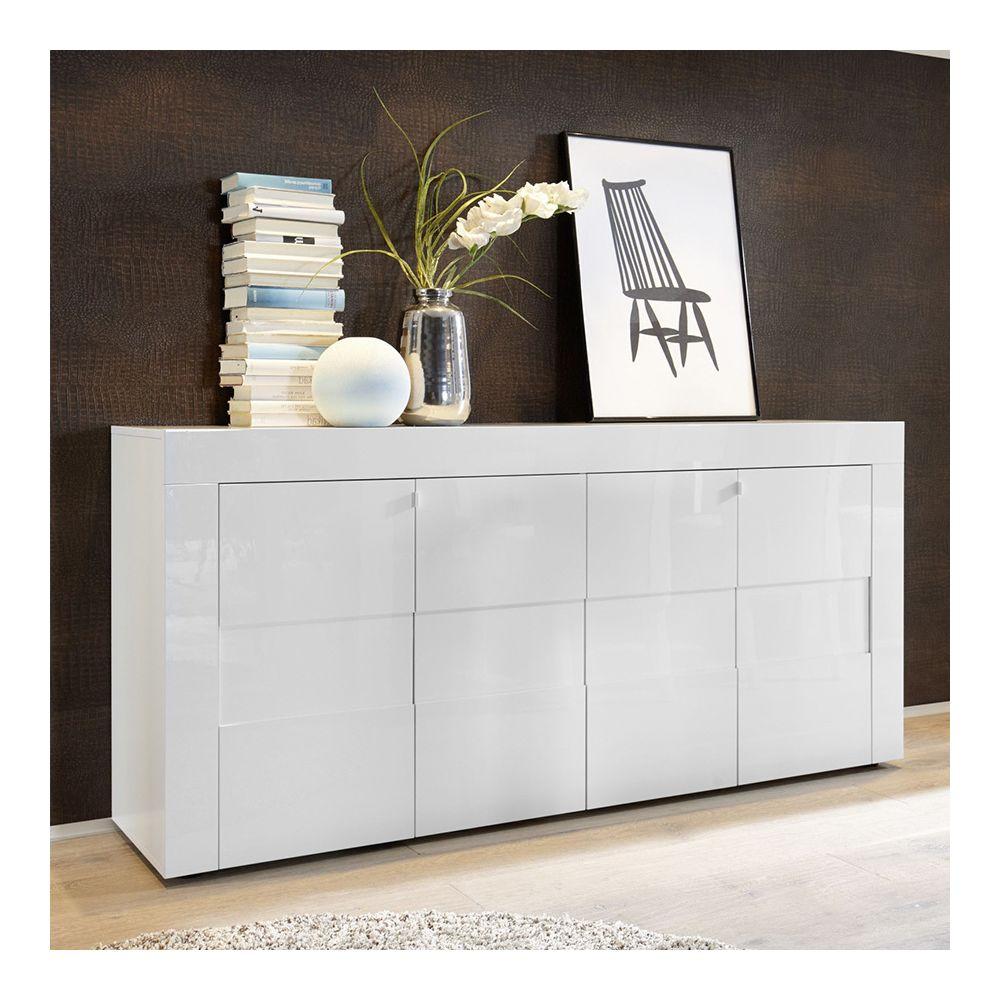 Sofamobili bahut blanc laqué brillant design OKLAND