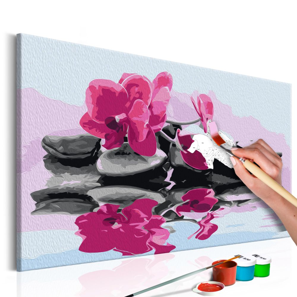 Declina Tableau à peindre par soi-même - Orchidée et pierres zen dans un mirroir d'eau