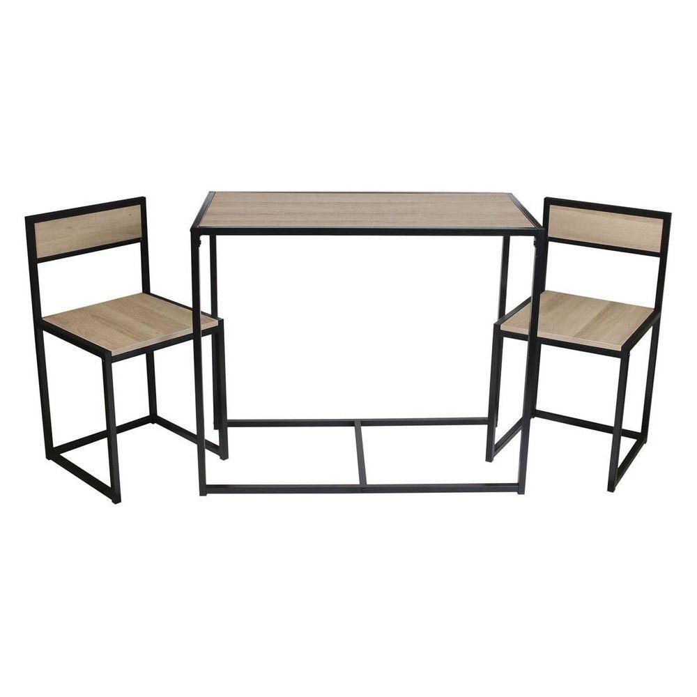 The Home Deco Factory Table et 2 chaises et bois et métal Otis
