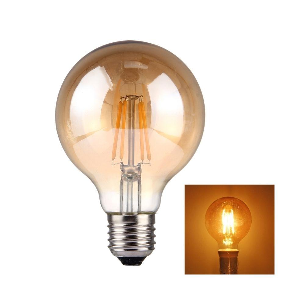 Wewoo Ampoule blanc G80 E27 4W 4 LEDs 380 LM 2300K Tawny rétro économiseur d'énergie LED à incandescence, AC 85-265V chaud