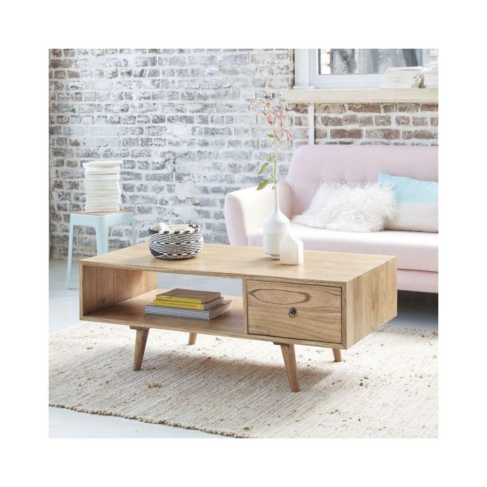 Bois Dessus Bois Dessous Table basse en bois de mindy avec tiroir