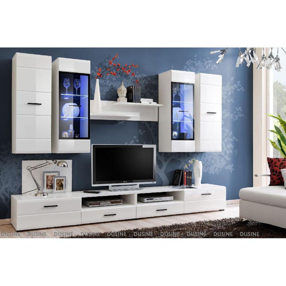 Dusine Meubles design ALLURE 280 cm Blanc Laqué avec LED pour TV et BOX