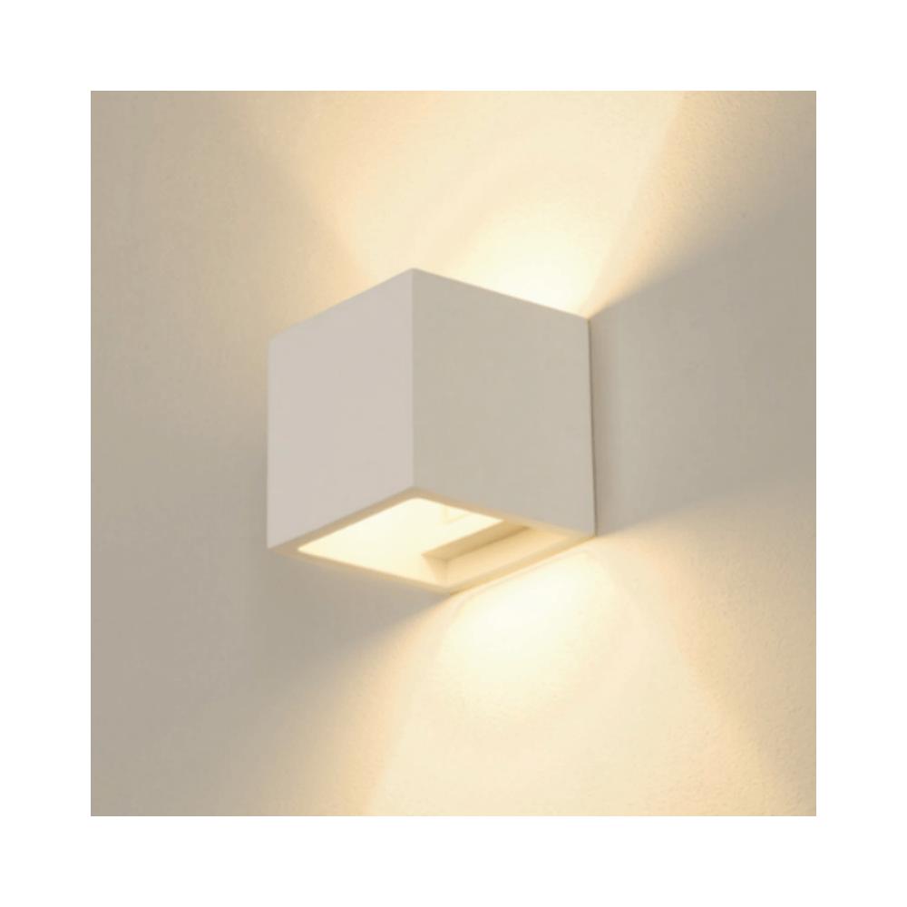 Slv Applique murale carrée Plastra Cube plâtre H12 cm - Blanc