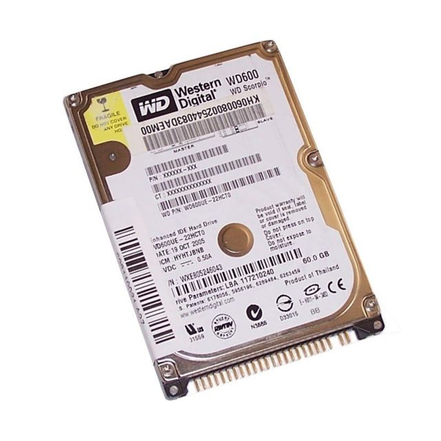 "Western Digital - Disque Dur 60Go IDE ATA 2.5"""" Western Digital WD600UE 5400RPM 2Mo Pc Portable - Disque Dur interne 2.5"""