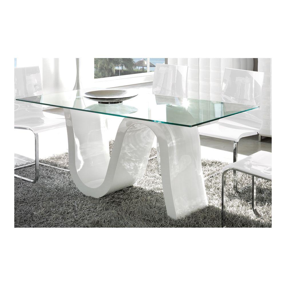 Kasalinea Table à manger en verre et laqué blanc design CAMPARI