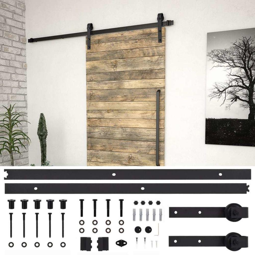 Vidaxl vidaXL Kit de fixation pour porte coulissante 183 cm Acier Noir