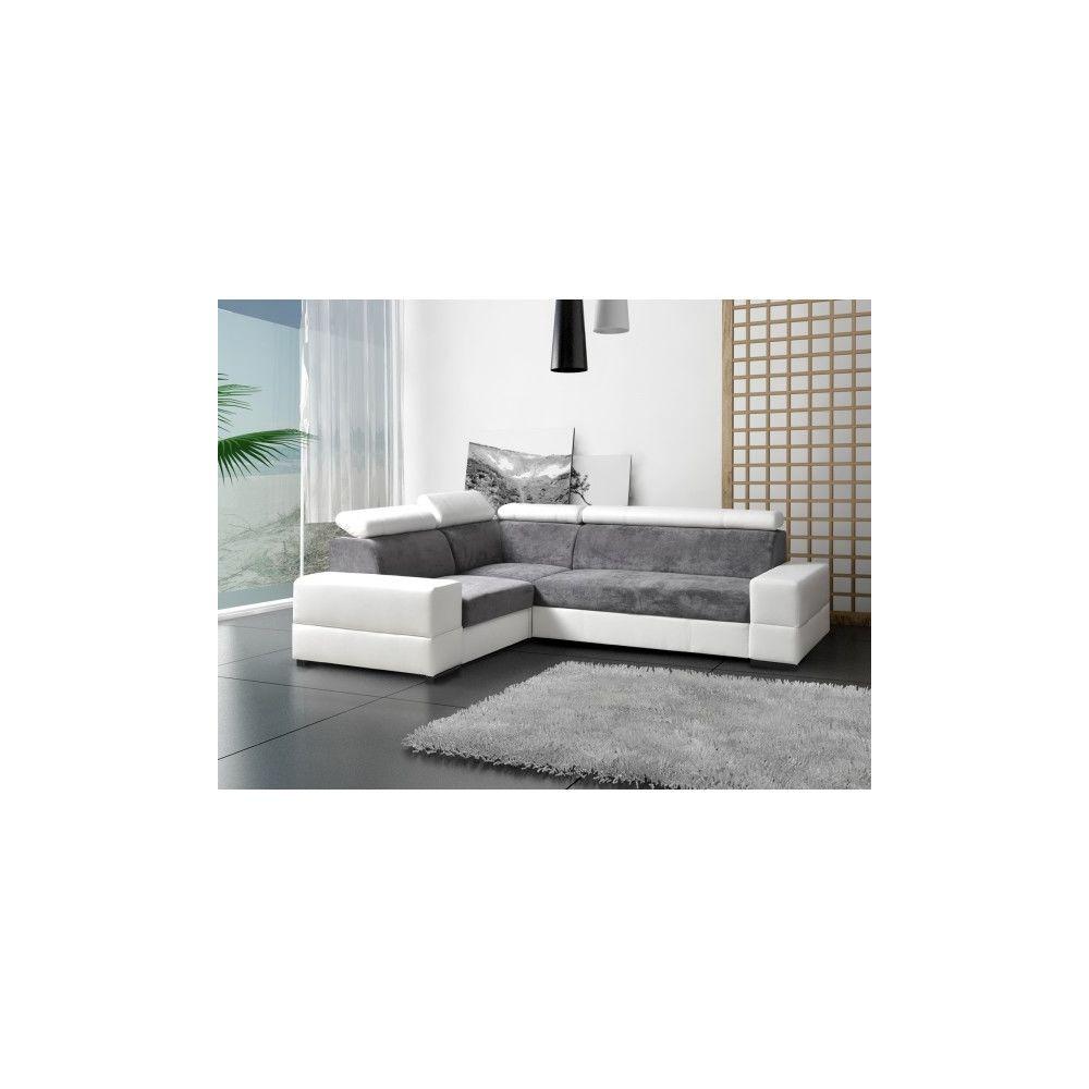 Meublesline Canapé d'angle convertible 4 places CAPRE gris blanc