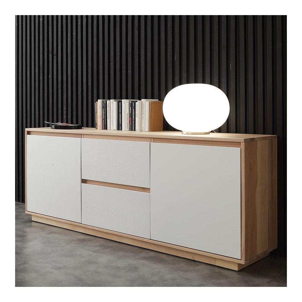 Sofamobili Buffet moderne blanc et bois FABIO