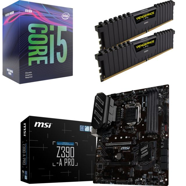 Intel - Core i5 9600K - 3,7/4,6 GHz + Vengeance LPX 16 Go (2 x 8 Go) - DDR4 3200 MHz Cas 16  + Intel Z390 PRO - ATX - Kit d'évolution Intel