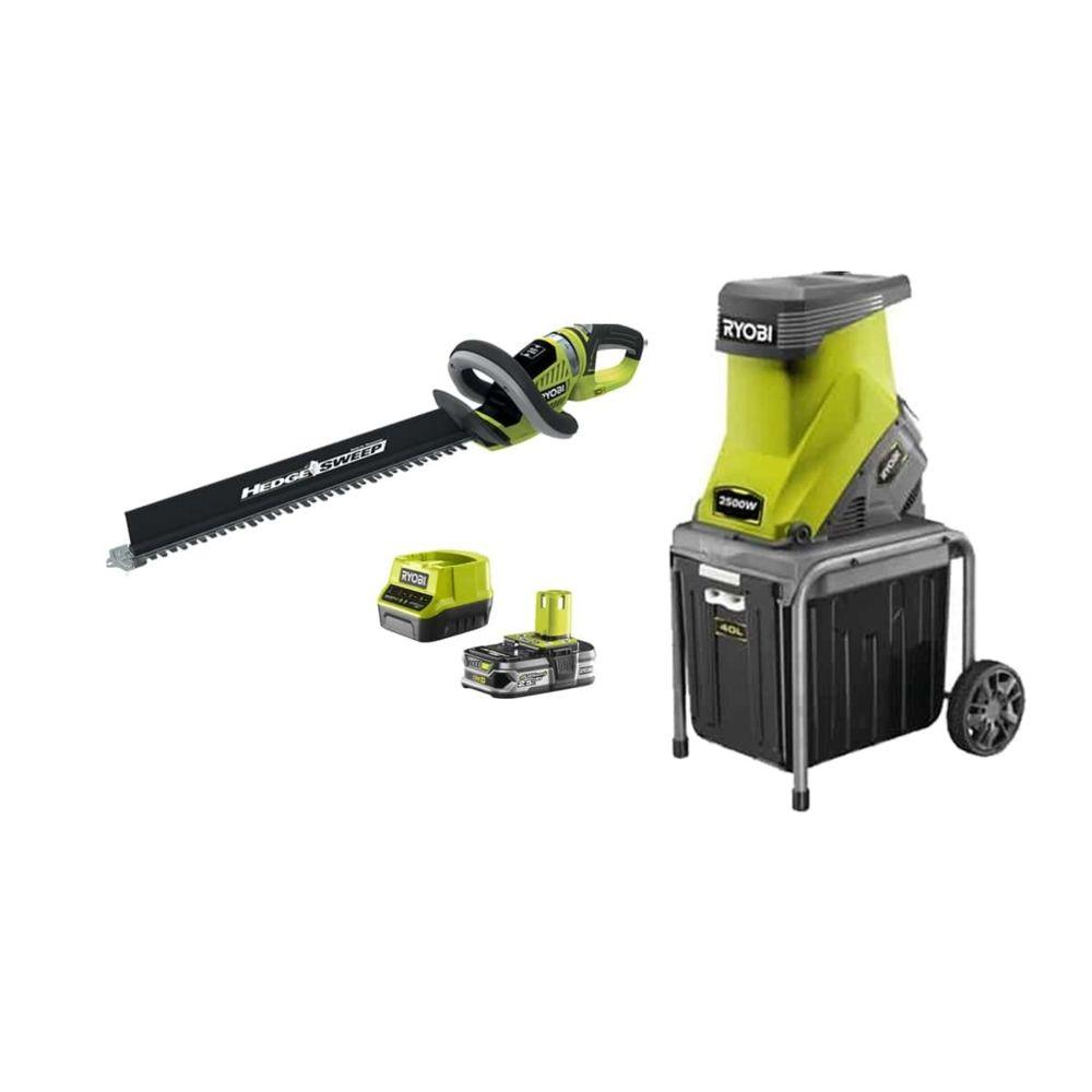 Ryobi Pack RYOBI Broyeur de végétaux 2500W RSH2545B - Taille-haies 18V OnePlus OHT1855R - 1 batterie 2,5Ah - 1 chargeur rapide