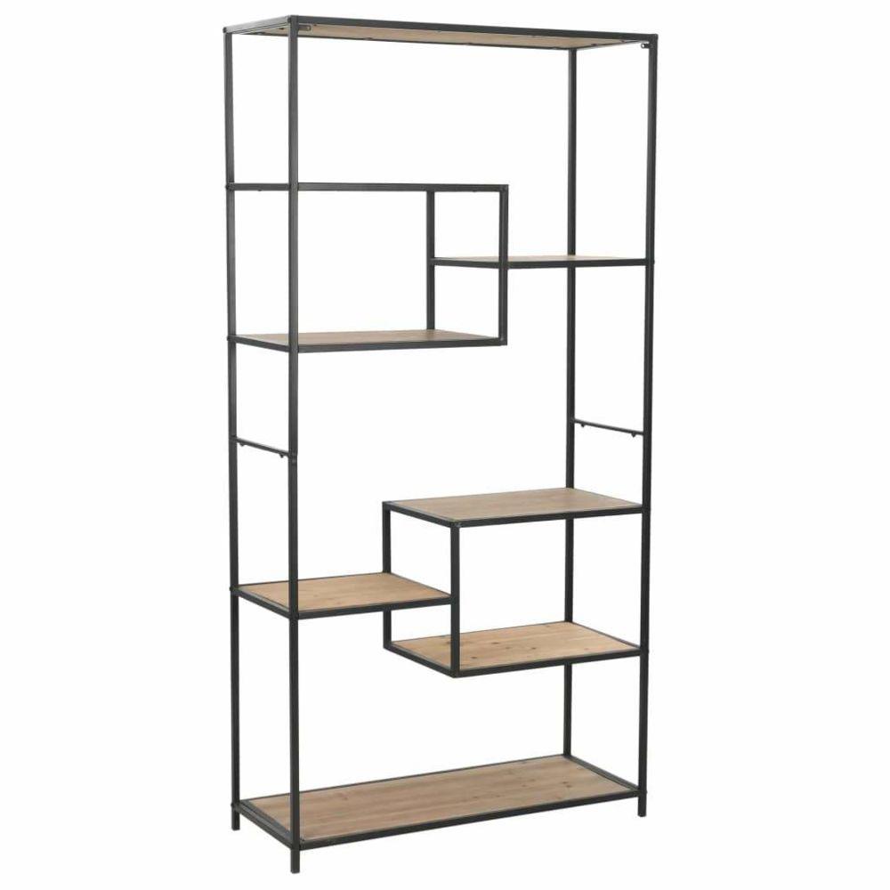 Helloshop26 Étagère armoire meuble design bibliothèque bois de sapin massif et acier 180 cm 2702055/2