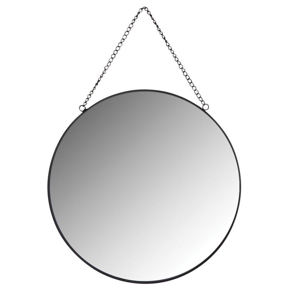 Aubry Gaspard Miroir rond en métal laqué noir