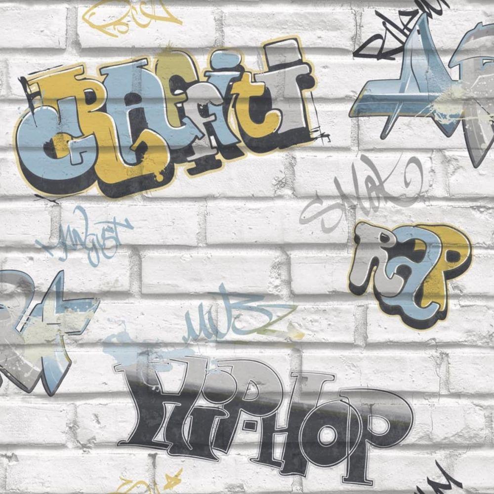 Urban Friends & Coffee Urban Friends & Coffee Papier Peint Graffiti Gris et Bleu Revêtement Mural