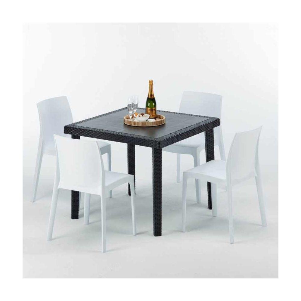 Grand Soleil Table Carrée Noire 90x90cm Avec 4 Chaises Colorées Grand Soleil Set Extérieur Bar Café Rome Passion, Couleur: Blanc