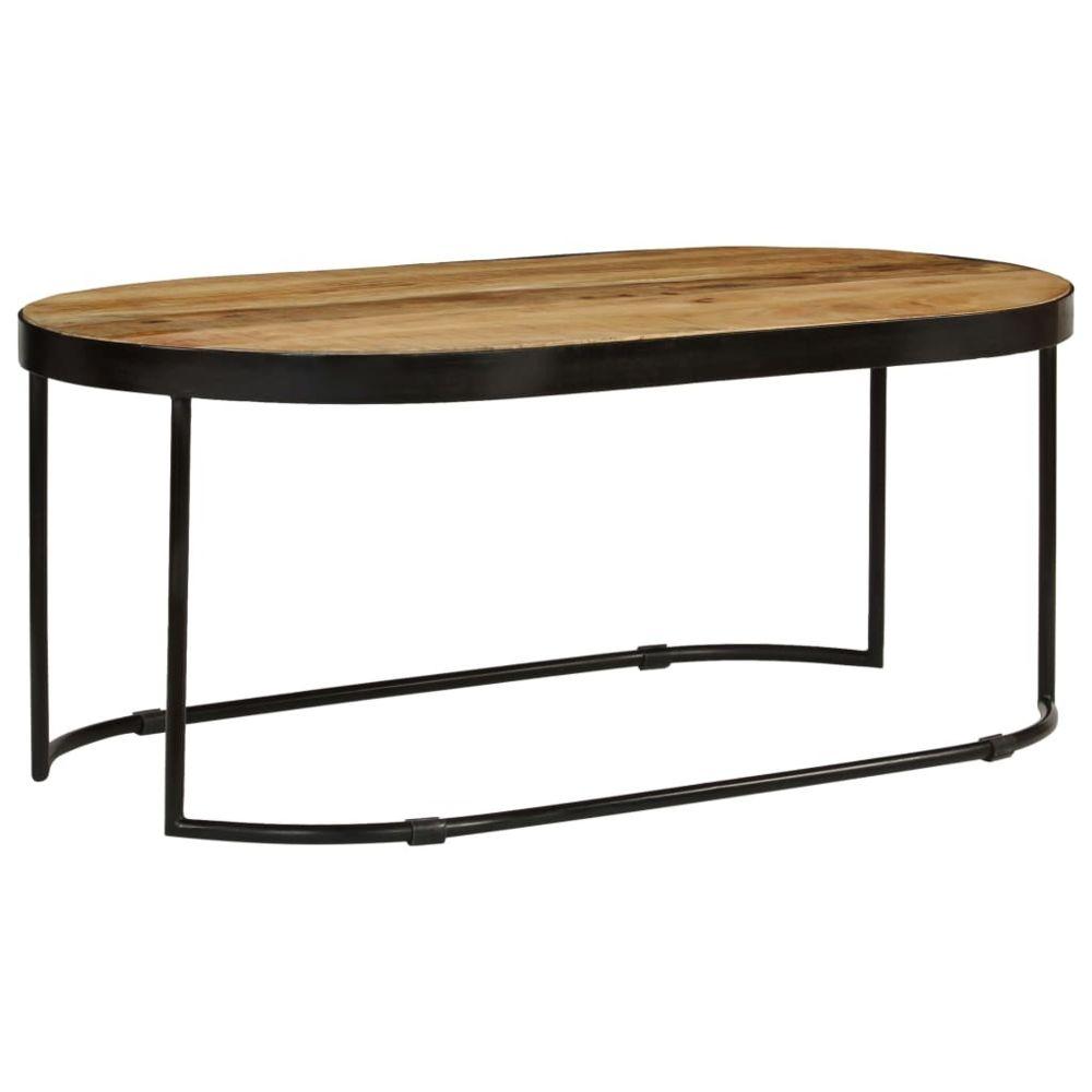 Vidaxl vidaXL Bois Massif de Manguier Brut et Acier Table Basse Ovale Table de Salon
