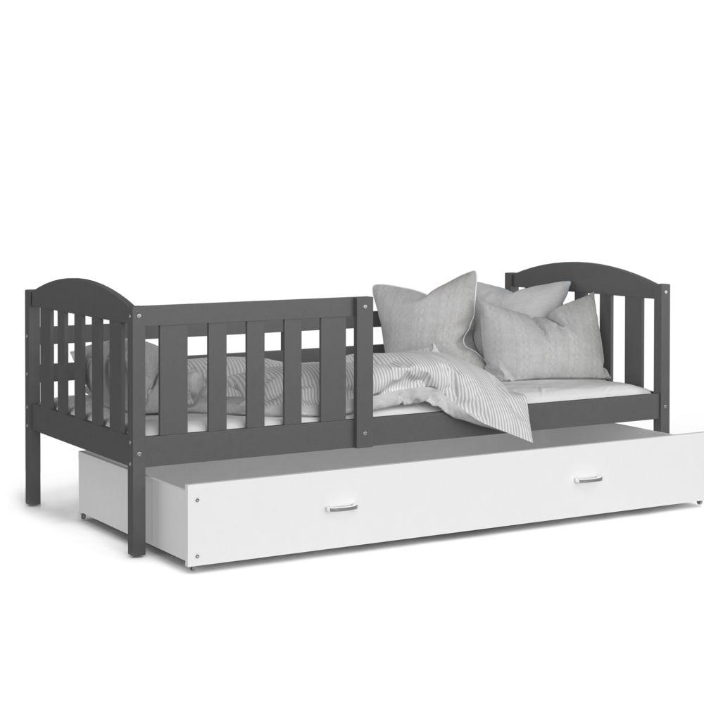Kids Literie Lit enfant Téo 90x190 gris blanc livré avec tiroir, sommier et matelas en mousse de 7cm offert