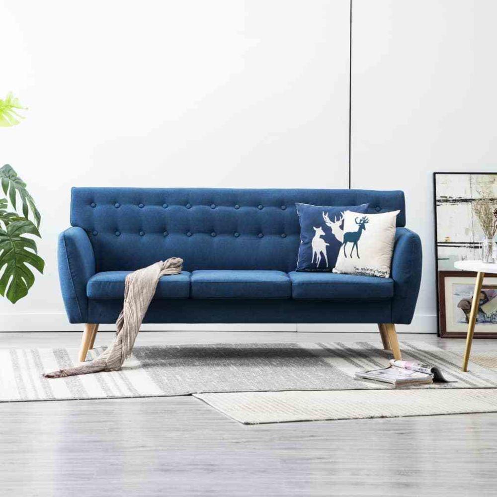 Vidaxl Canapé à 3 places Tapisserie en tissu 172x70x82 cm Bleu - Meubles - Canapés   Bleu   Bleu