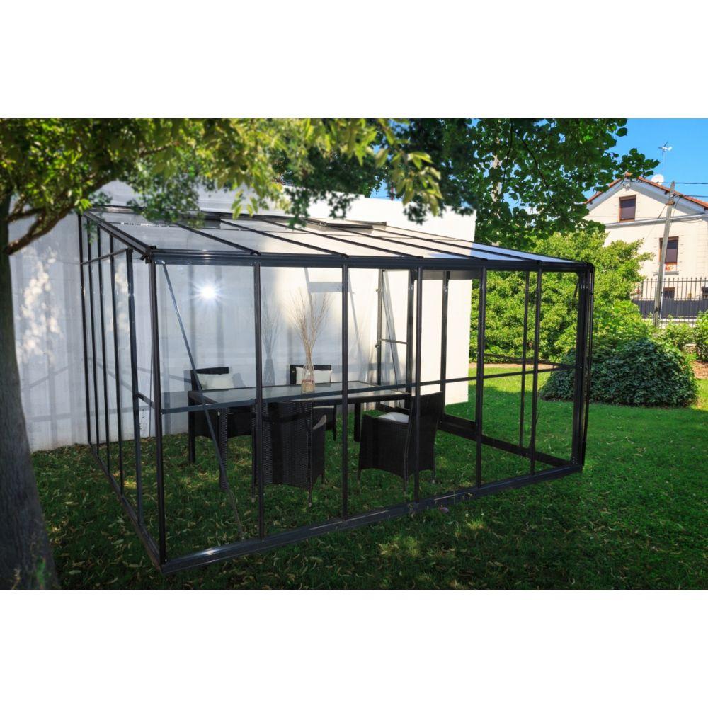 Chalet & Jardin CHALET&JARDIN - Serre d'hiver verre - 12 m2 grise adossable