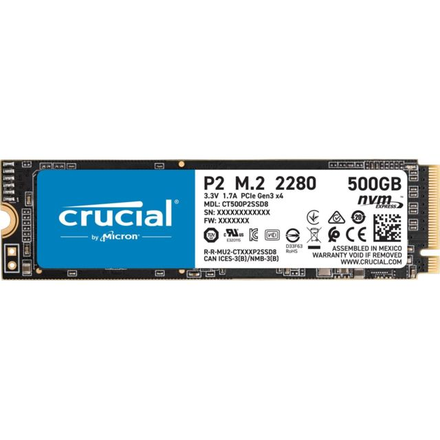Crucial - P2 3D NAND - 500 Go - M.2 Nvme PCIe - SSD Interne Ssd interne