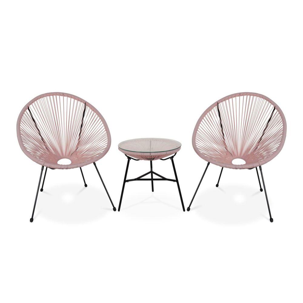 Alice'S Garden Lot de 2 fauteuils ACAPULCO forme d'oeuf avec table d'appoint - Rose pale - Fauteuils design rétro