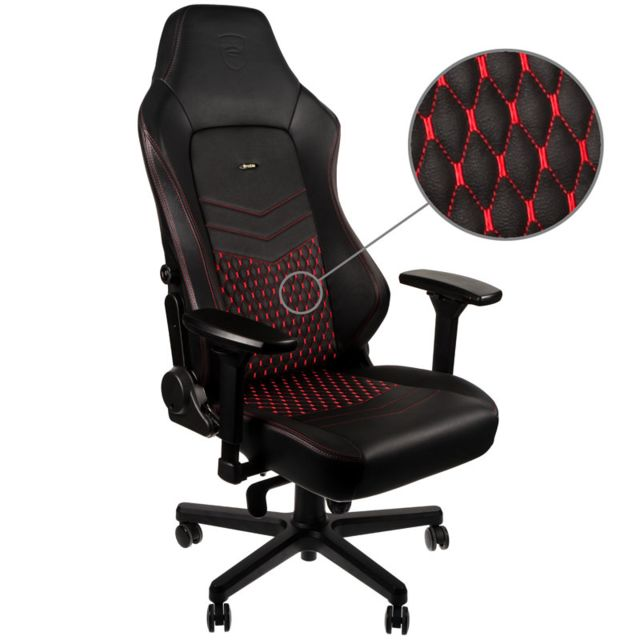 Noblechairs - HERO - Vrai Cuir - Noir/Rouge - Chaise gamer
