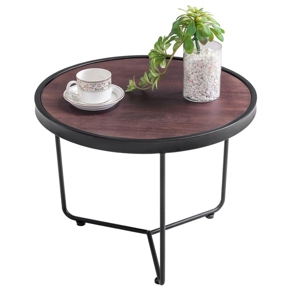 Idimex Table basse ronde SALVADOR table à café table d'appoint bout de canapé vintage retro cadre en métal noir et plateau déco