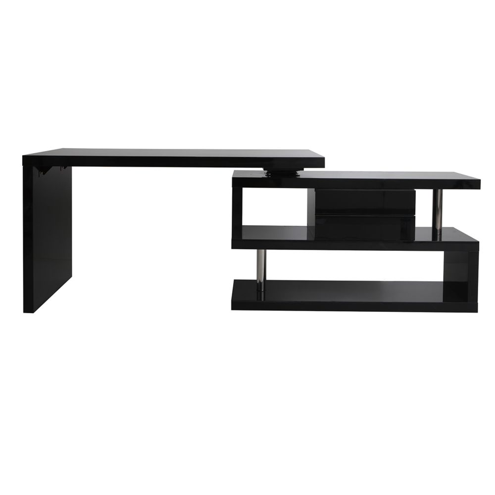 Miliboo Bureau design modulable avec rangement 2 tiroirs amovible noir laqué MAX