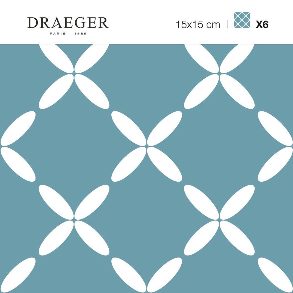 Nouvelles Images Carrés adhésifs - Fleurs ovales sur fond bleu vert