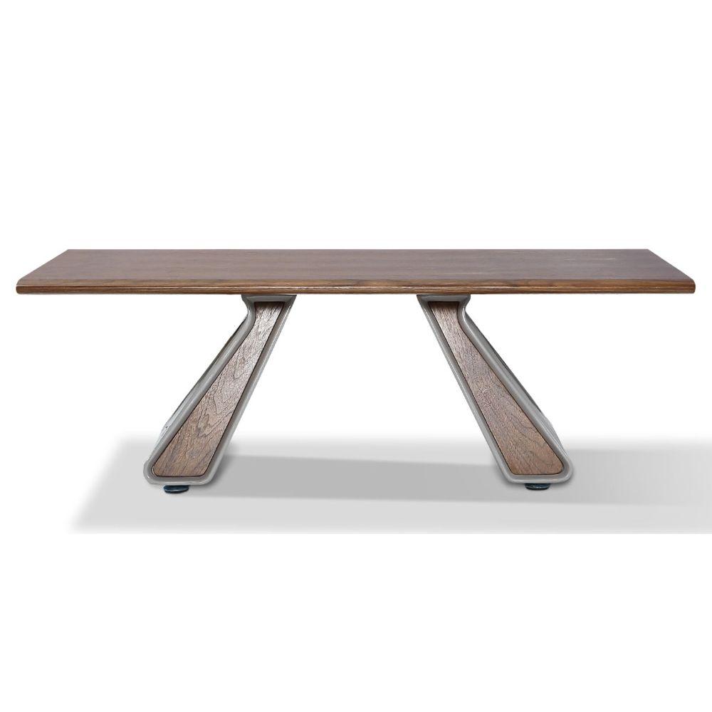 La Maison Du Canapé Table basse bois/laqué ISORA - Noyer/Gris - Bois foncé
