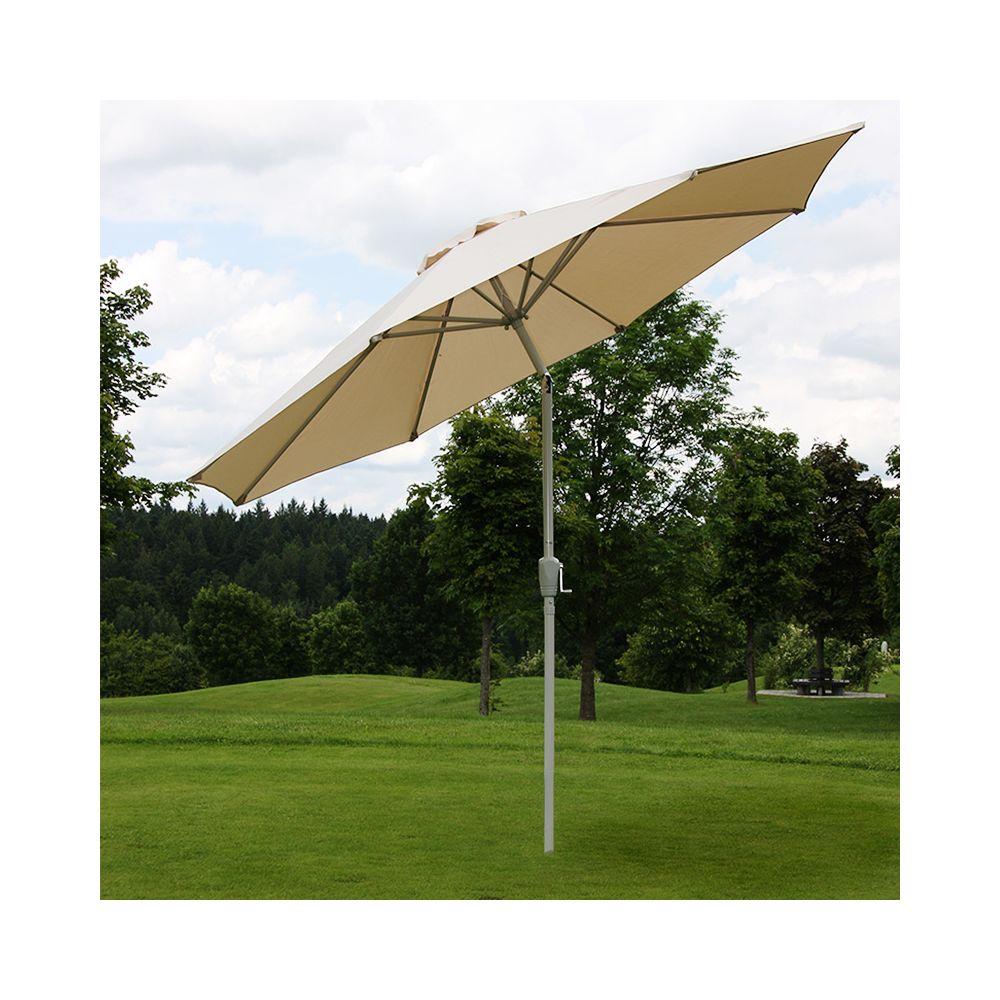 Mendler Parasol en aluminium N18, 270 cm, inclinable, inoxydable ~ crème