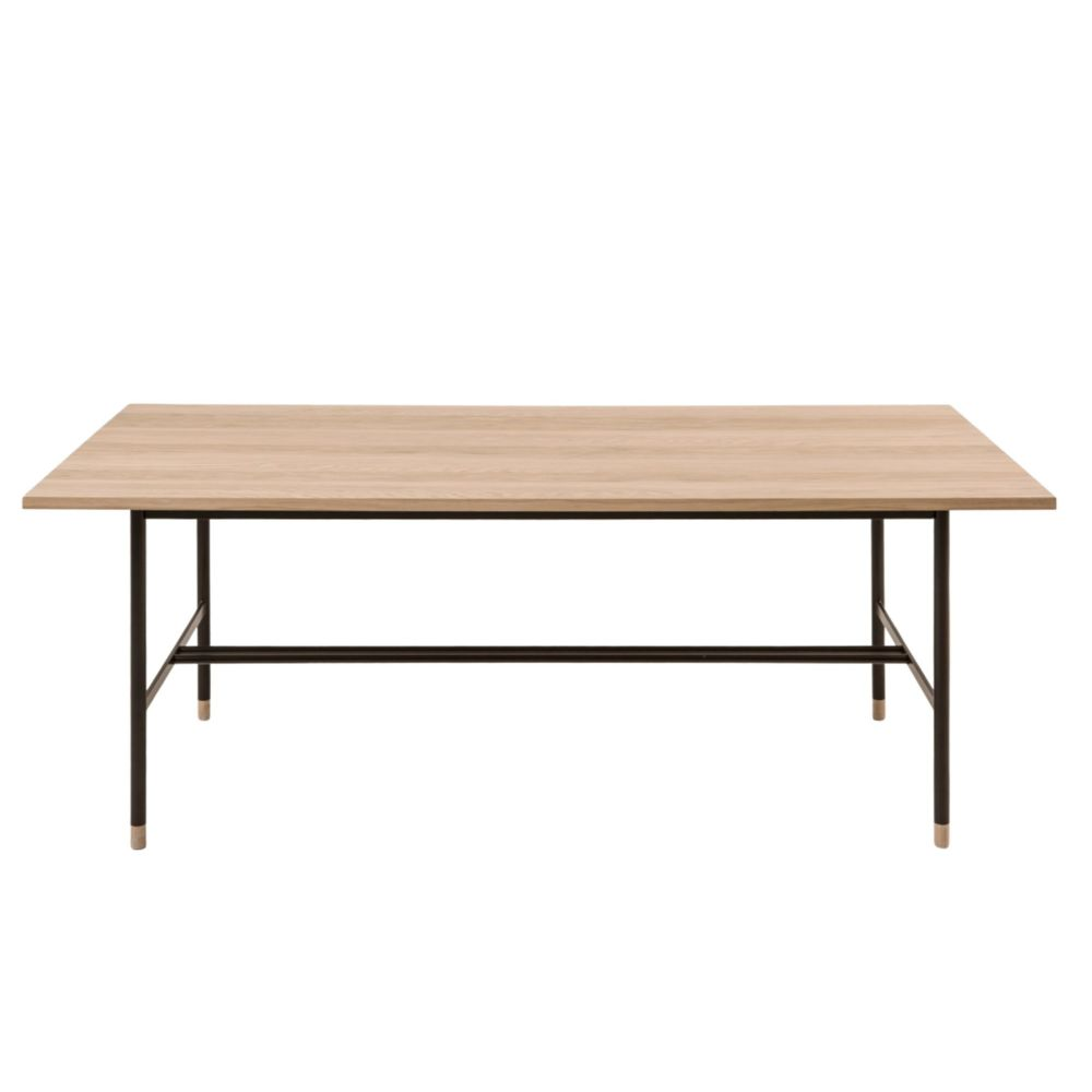 HELLIN Table rectangulaire en bois et métal noir L200 JERSEY