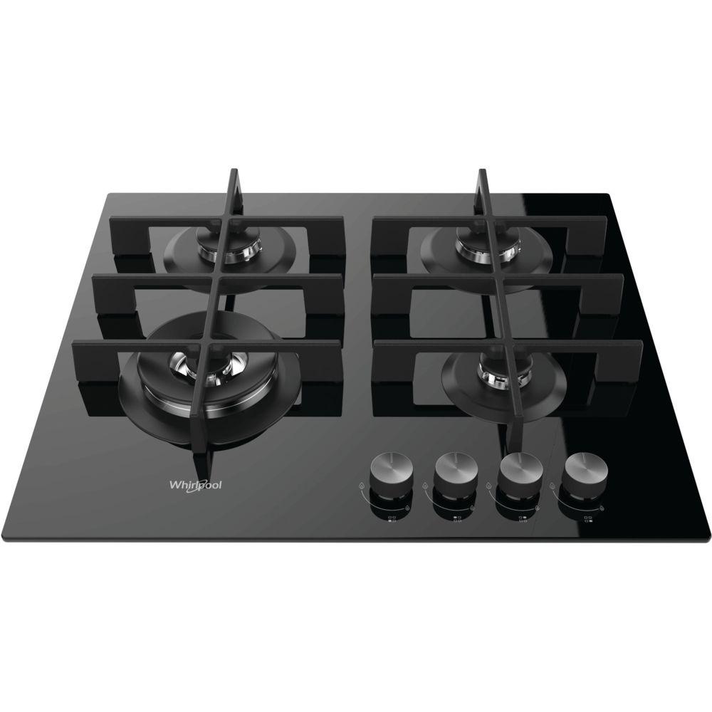 whirlpool whirlpool - table verre gaz 59cm 4 foyers noir - gow6423nb