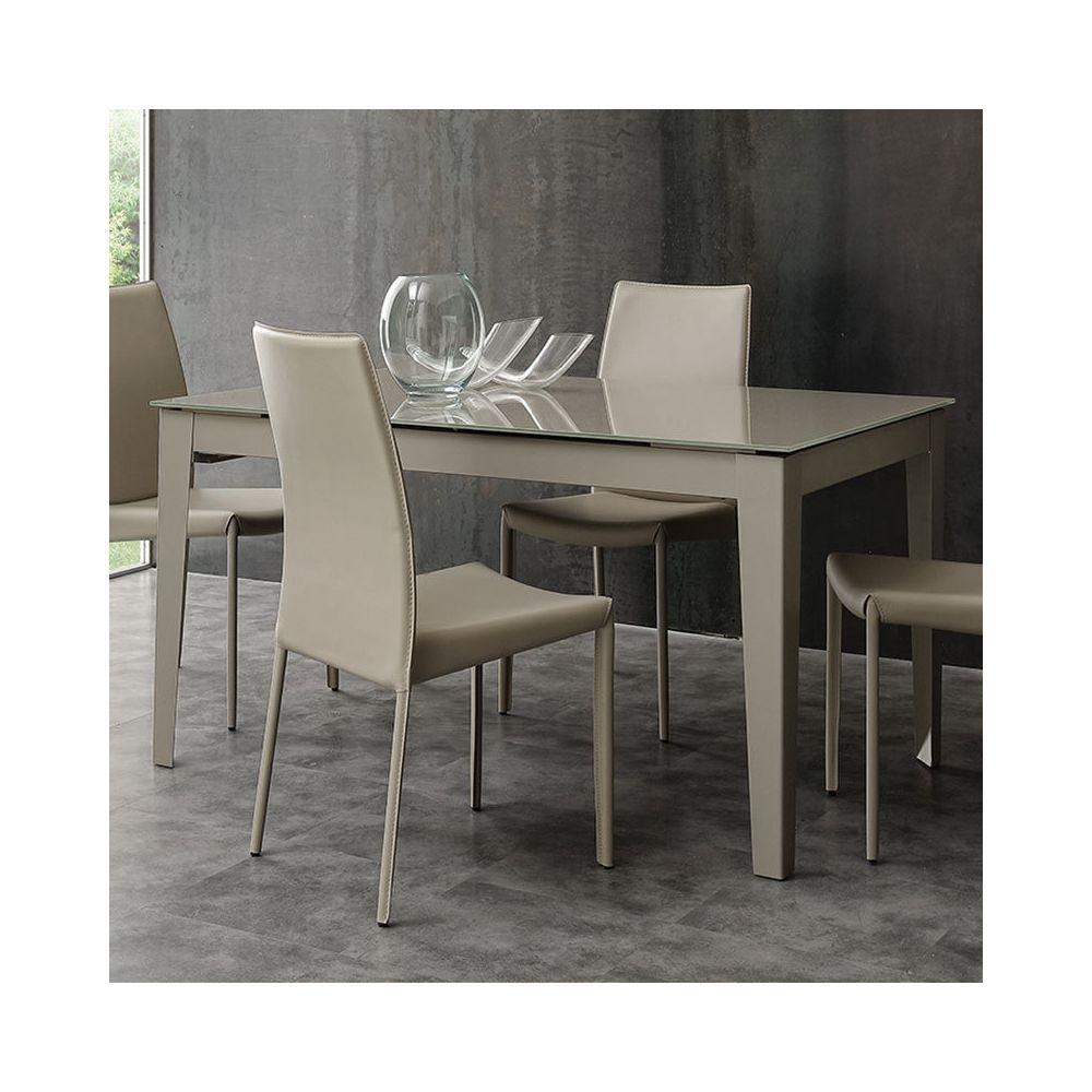 Nouvomeuble Table à manger taupe design en verre extensible ALANO