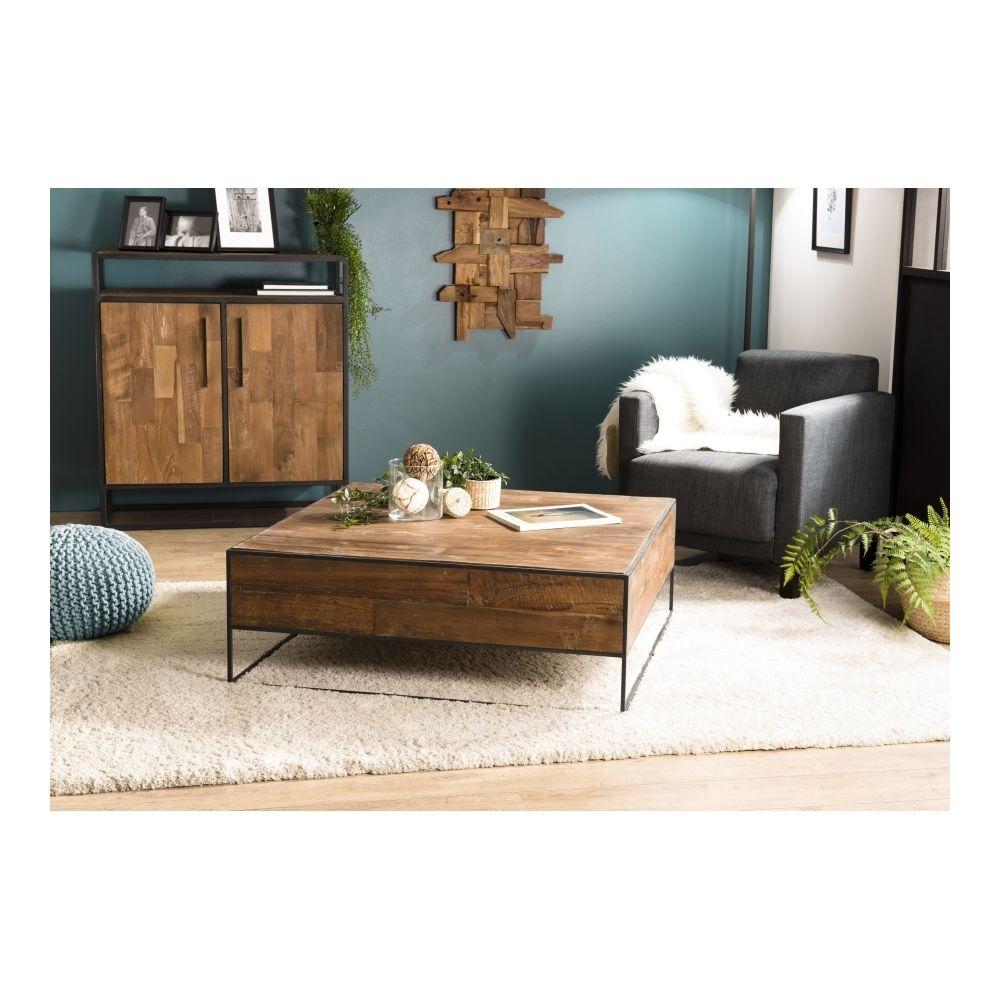 MACABANE Table basse carrée 100x100cm Teck recyclé et métal