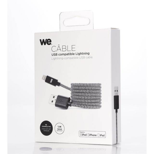 We - WE Câble USB-C vers Lightning 1m avec Charge Rapide Power Delivery pour iPhone 11/11 Pro/XS/XR/X/8, iPad Mini 5, iPad Air 2019 en Nylon - Noir - Câble et Connectique We