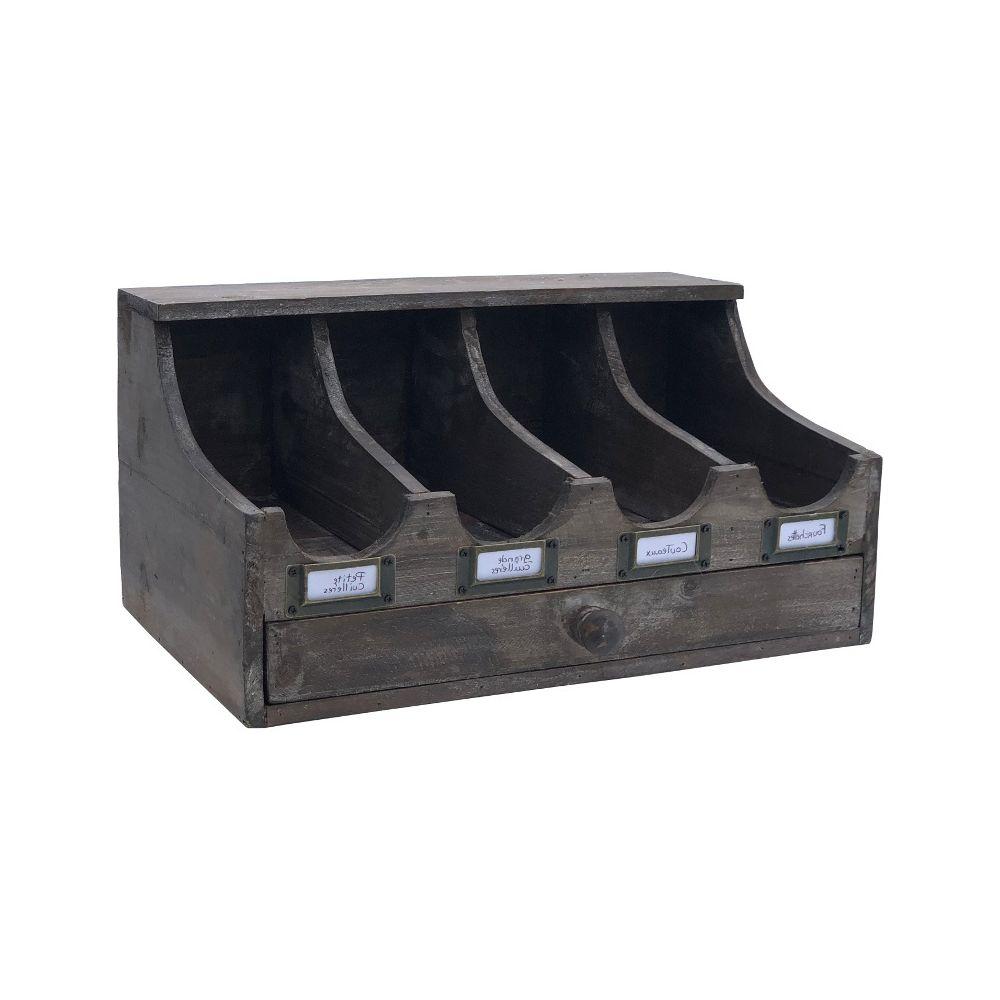 L'Originale Deco Style Ancien Boîte à Couvert Rangement Couvert à Tiroir 39 cm x 20 cm x 20 cm