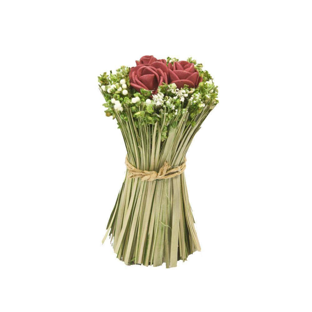 Visiodirect Lot de 12 Fagots de roses et fleurs à poser coloris Rouge - 11 cm