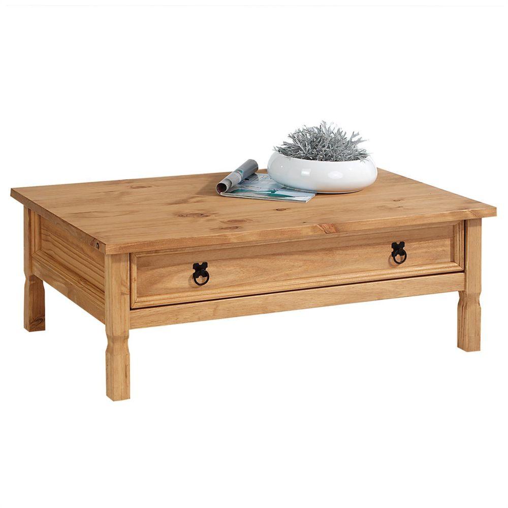 Idimex Table basse de salon TEQUILA plateau rectangulaire en bois style mexicain avec 1 grand tiroir, en pin massif teinté et c