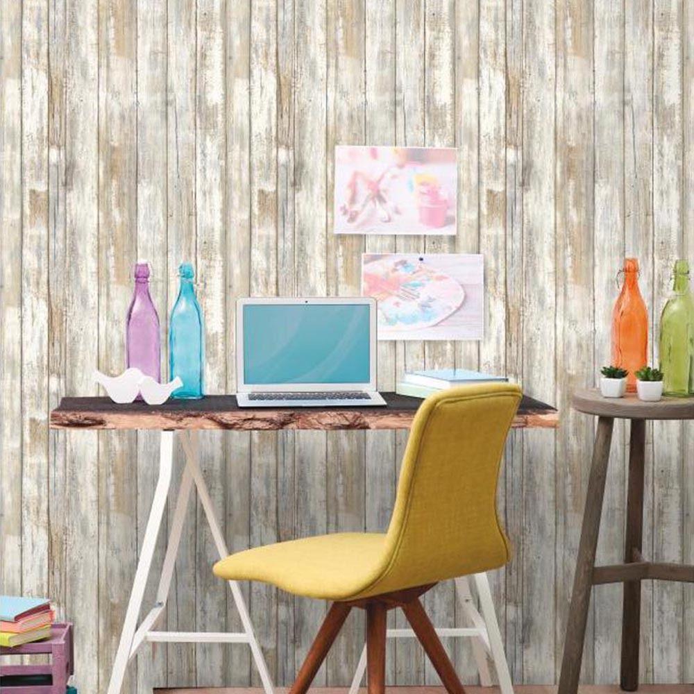 Thedecofactory Sticker papier peint adhésif facile à poser amovible repositionnable et réutilisable bois vieilli (1 rouleau 5,03 x 0,52