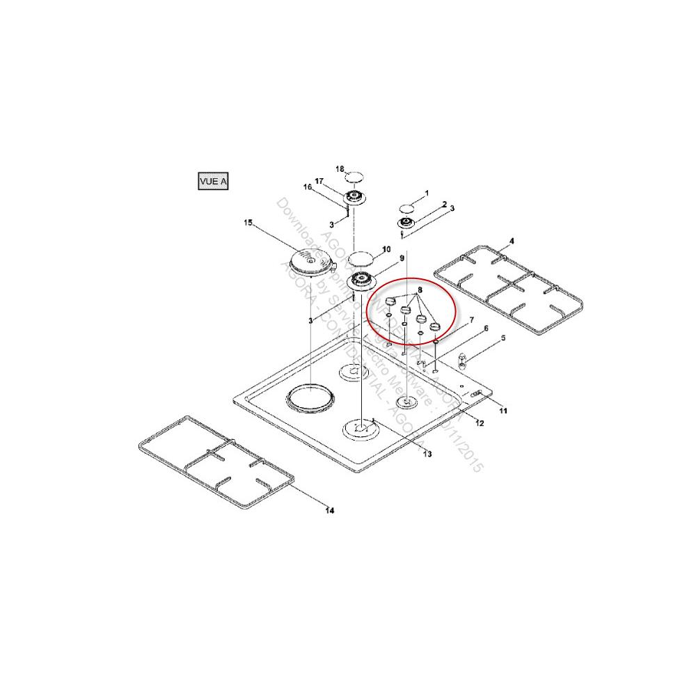 Far MANETTE BLANCHE X4 POUR TABLE DE CUISSON FAR - 41620