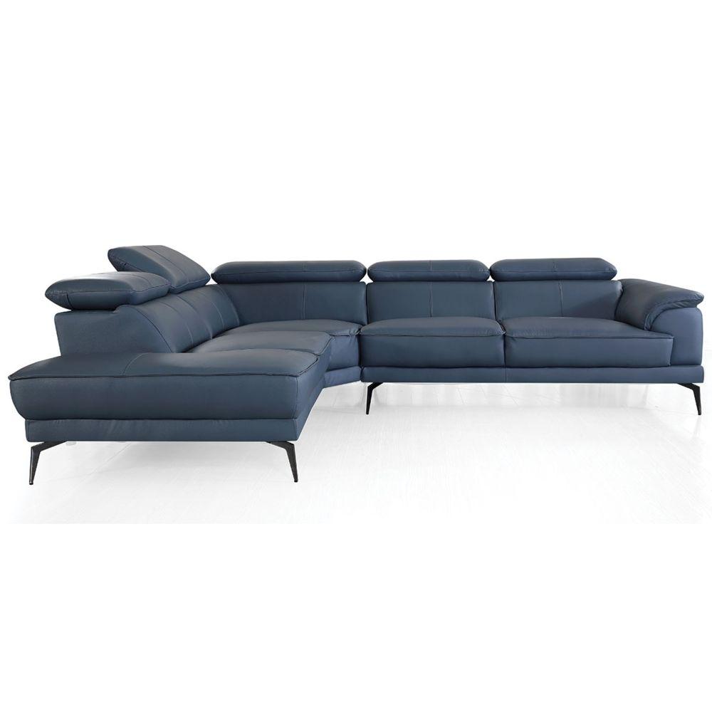 La Maison Du Canapé Canapé d'angle en cuir ELEA - Gauche - Bleu gris