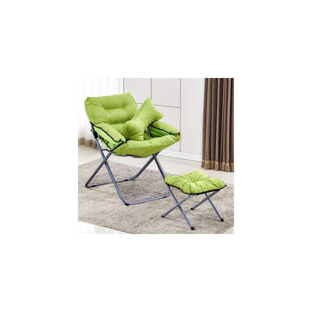 Wewoo Salon créatif pliant paresseux canapé chaise simple longue tatami avec repose-pieds / oreiller vert
