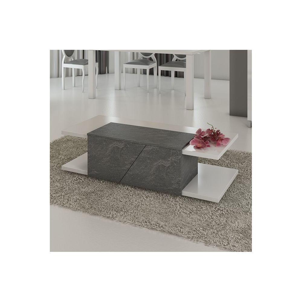 Nouvomeuble Table basse design 120x60 cm gris et blanc laqué blanc LAUREA