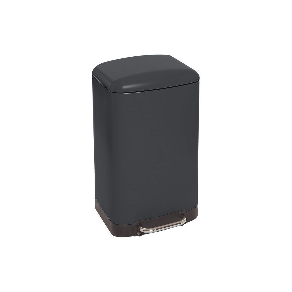 JJA Poubelle carrée en métal 30L noire