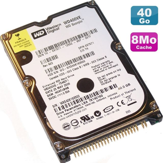 "Western Digital -Disque Dur 40Go IDE 2.5"""" Western Digital Scorpio WD400VE 75HDT1 8Mo Pc Portable Western Digital  - Disque Dur interne 2.5"""