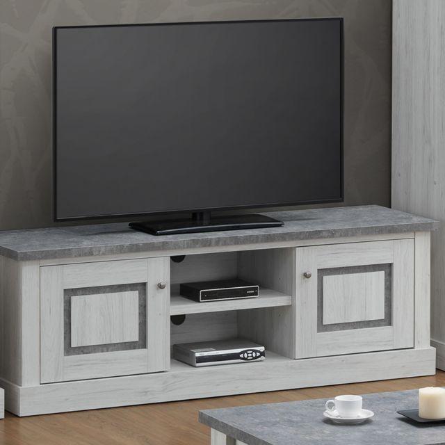 banc tv 155 cm couleur chene clair et gris petunia