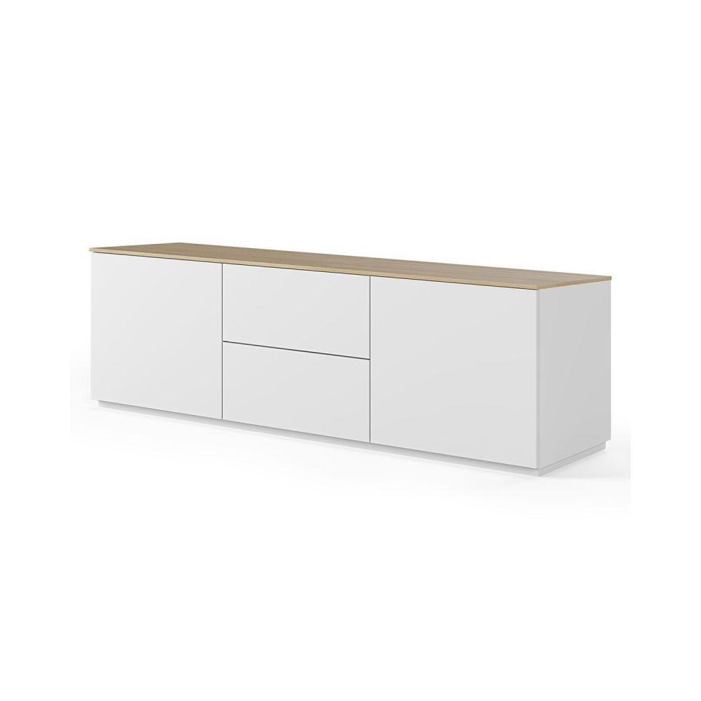 Paris Prix TemaHome - Buffet Design Bas Join II 180cm Blanc & Chêne