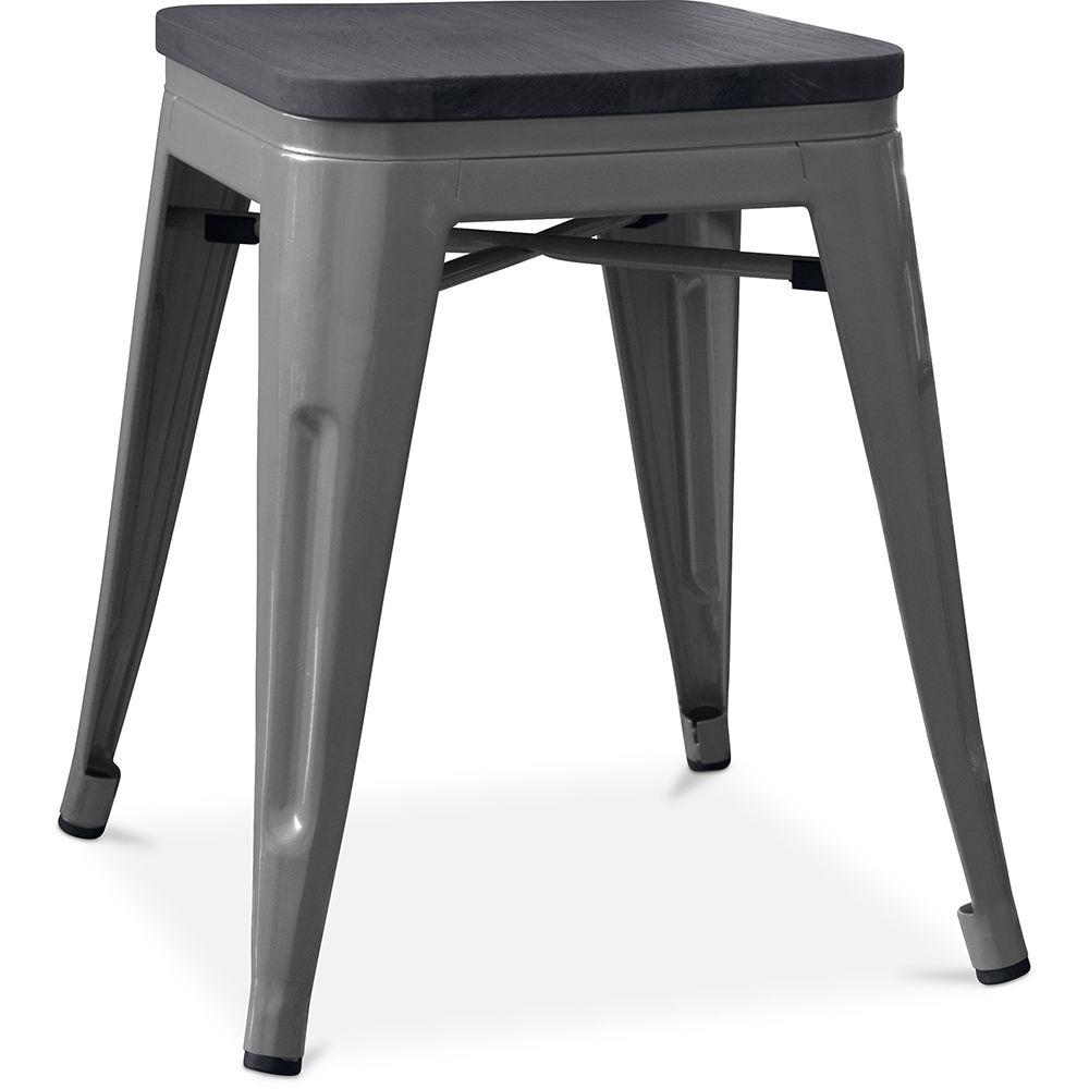 Privatefloor Tabouret style Tolix - 46 cm - Métal et bois foncé